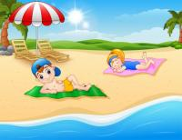 Enfants se faire bronzer tapis plage 43633 2806